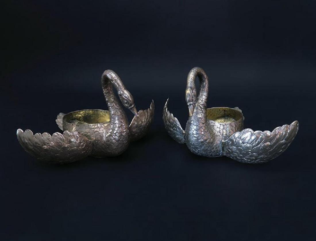 Beautiful Pair of German 800 Silver Swan