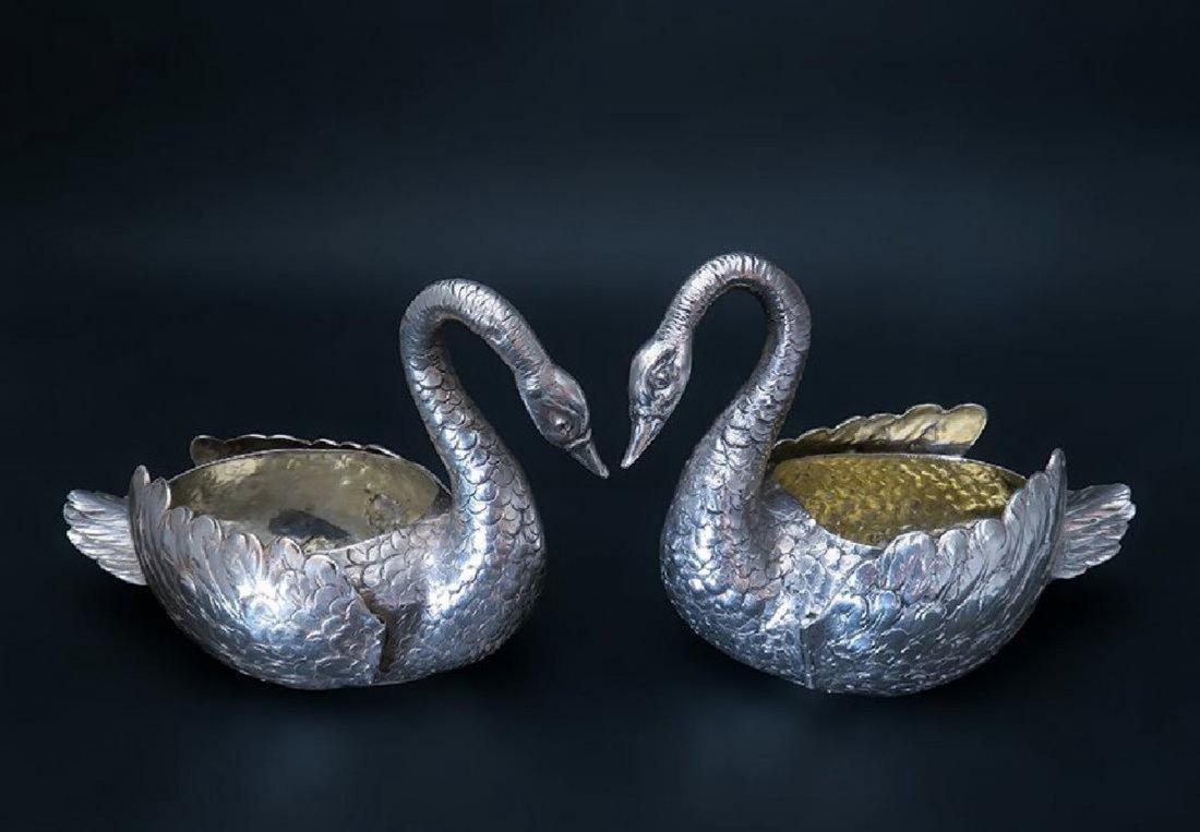 Beautiful Pair of German 800 Silver Swan - 2