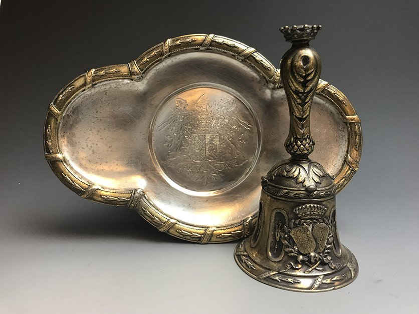 An Important and Rare French Silver Gilt Table Bell