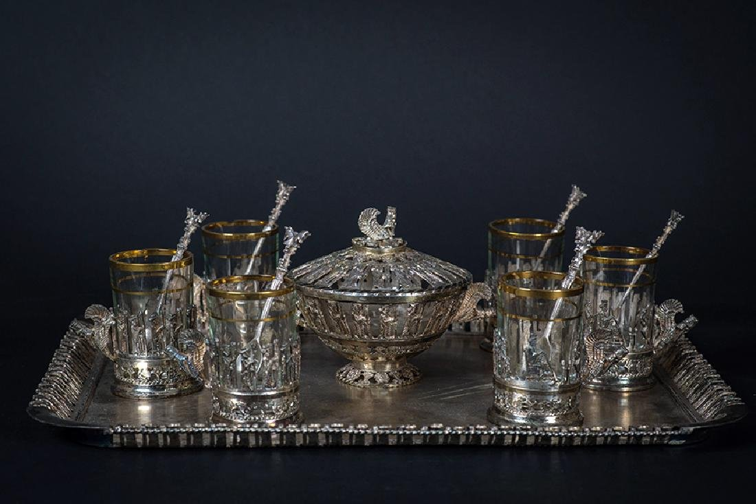 STERLING SILVER OLD PERSIAN TEA SET, VARTAN SIGNED!