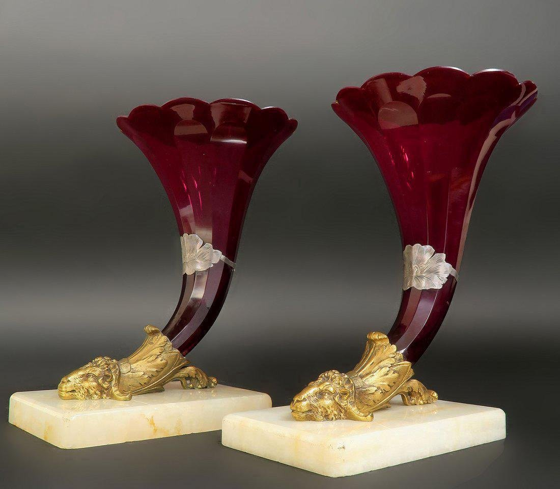 19th C. Baccarat Red Baccarat Glass Cornucopia Vases