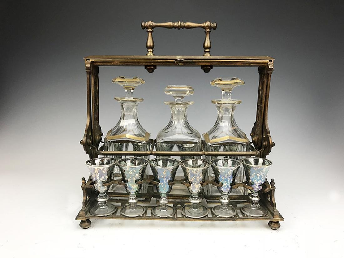French Bronze & Crystal Tantalus