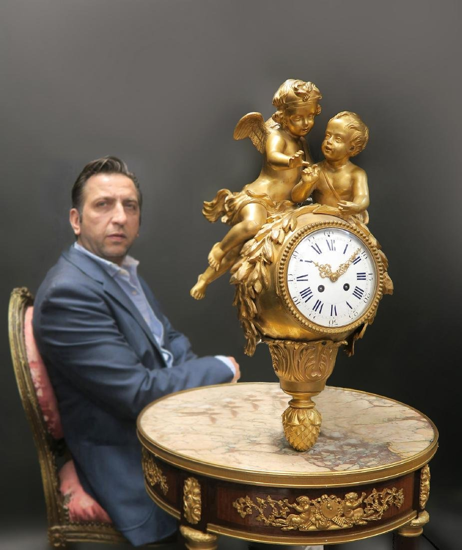 Very Fine French 19th C. Bronze Figural Cartel Clock
