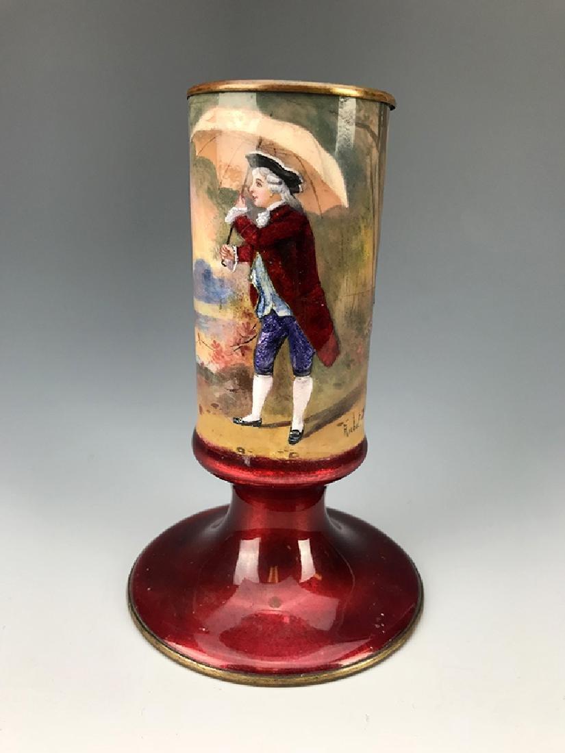 French Hand Painted Enamel Vase