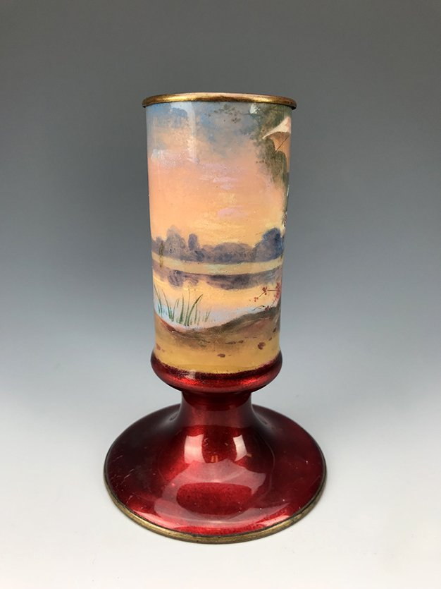 French Hand Painted Enamel Vase - 3