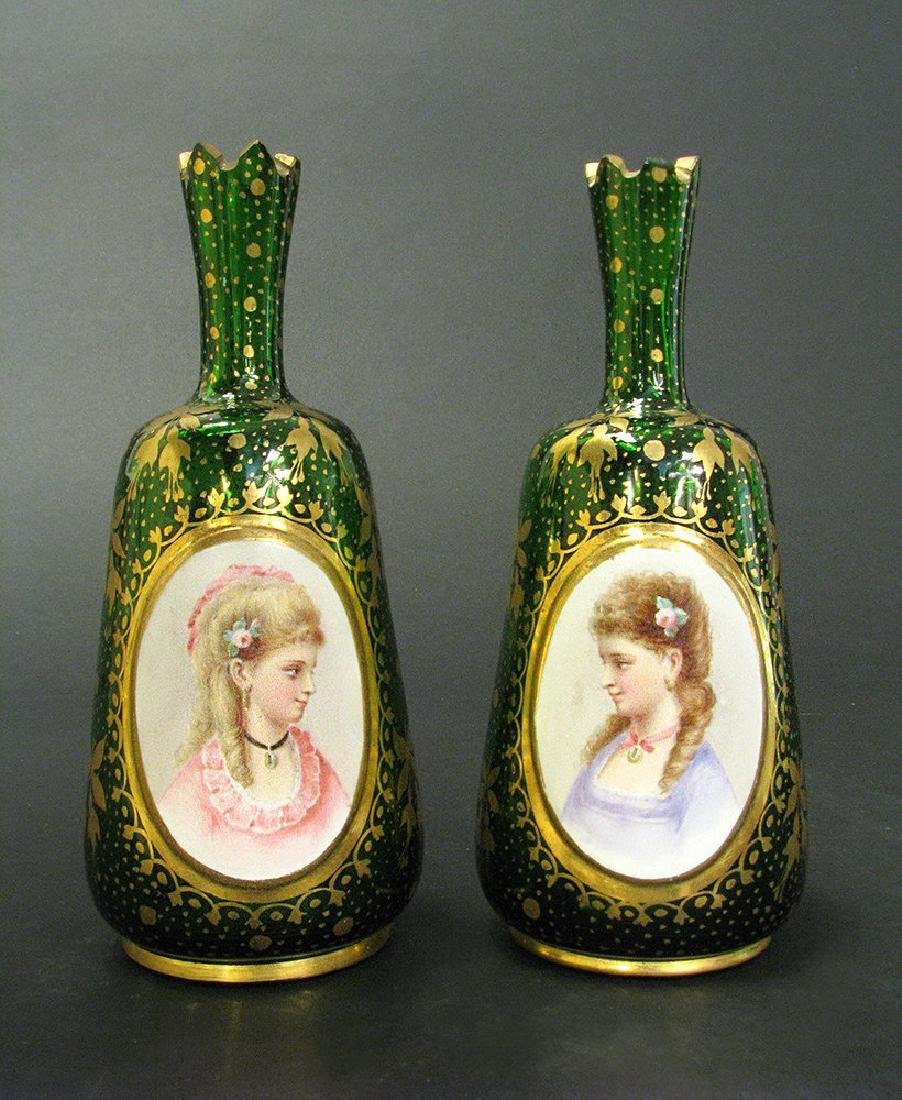 Pair of 19th C. Bohemian Portrait Vases