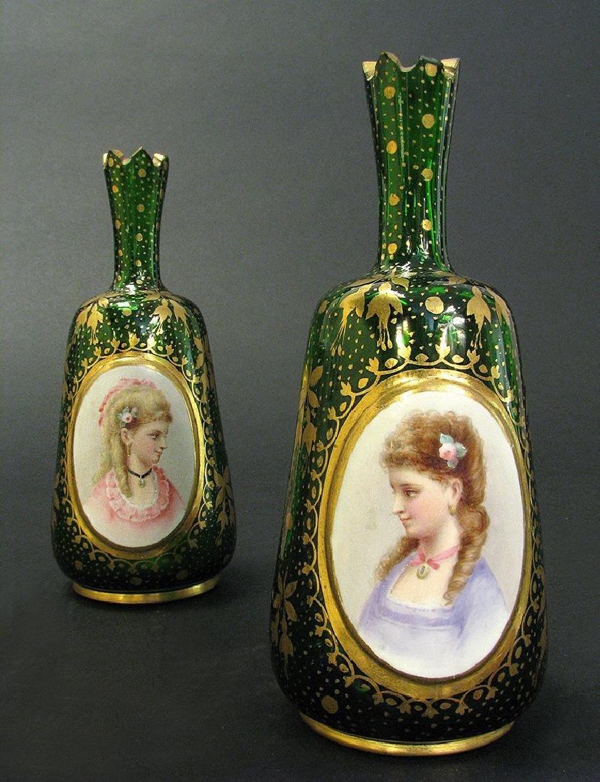 Pair of 19th C. Bohemian Portrait Vases - 2