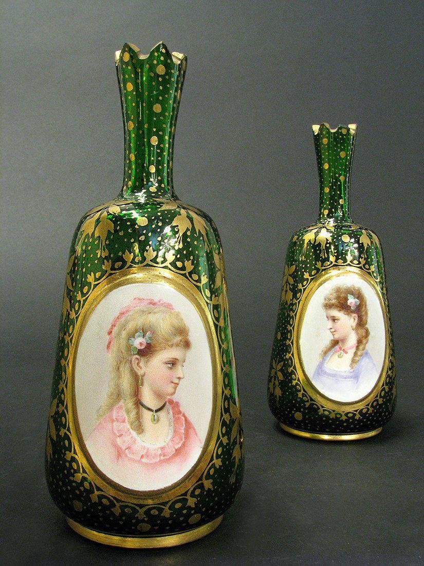 Pair of 19th C. Bohemian Portrait Vases - 3
