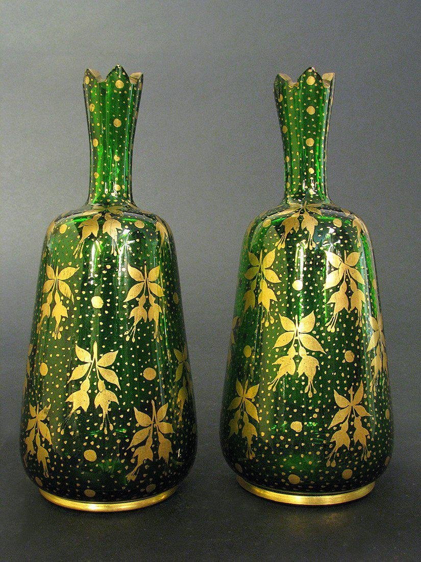Pair of 19th C. Bohemian Portrait Vases - 4