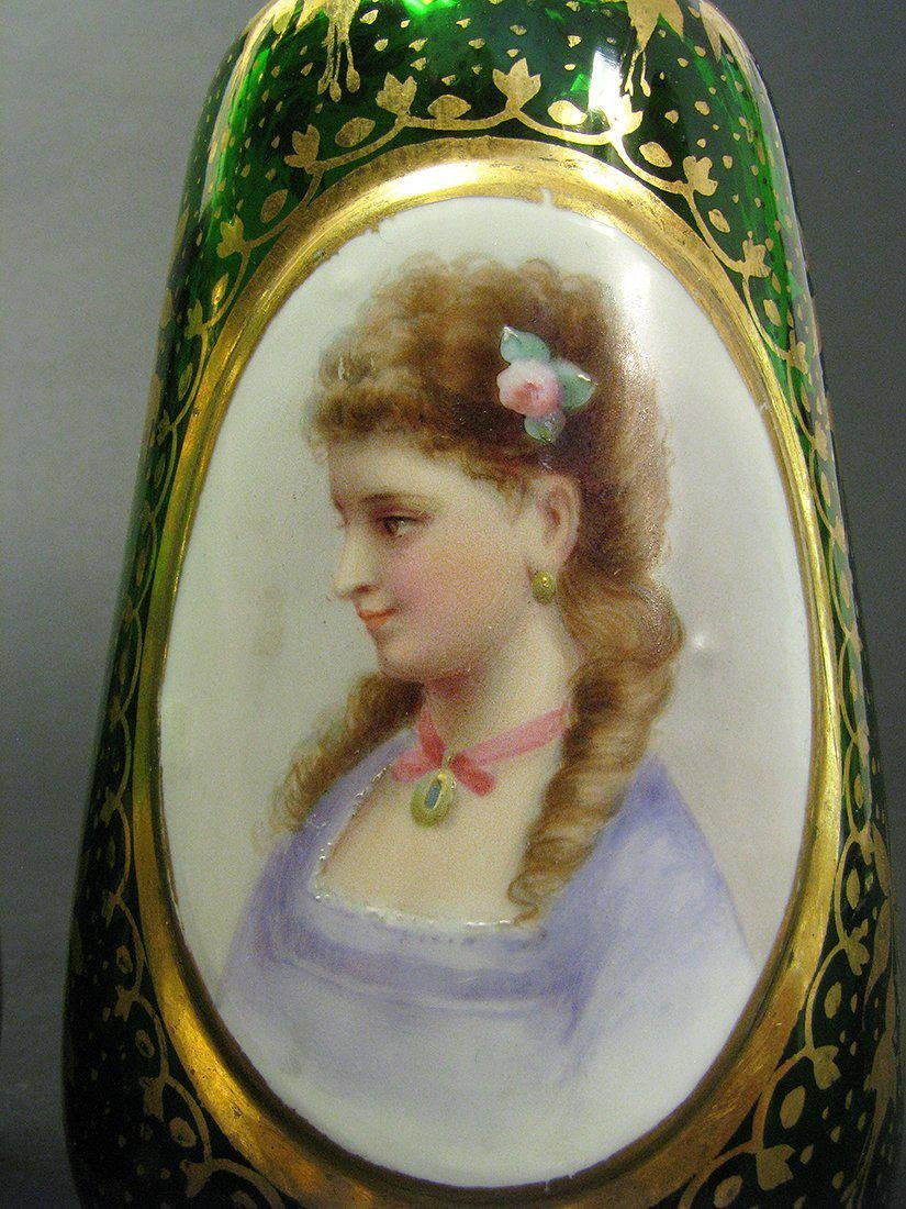 Pair of 19th C. Bohemian Portrait Vases - 5