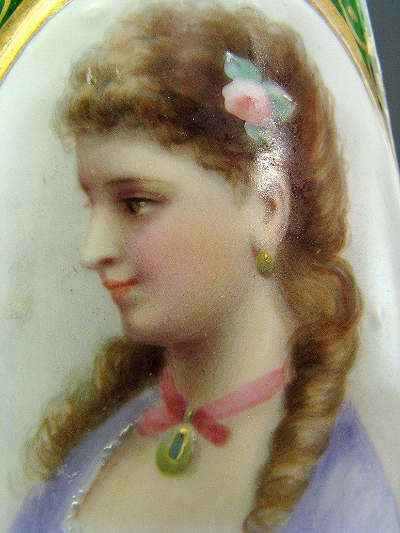 Pair of 19th C. Bohemian Portrait Vases - 6