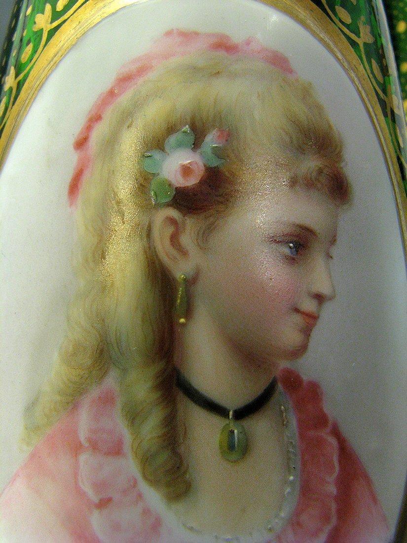 Pair of 19th C. Bohemian Portrait Vases - 7