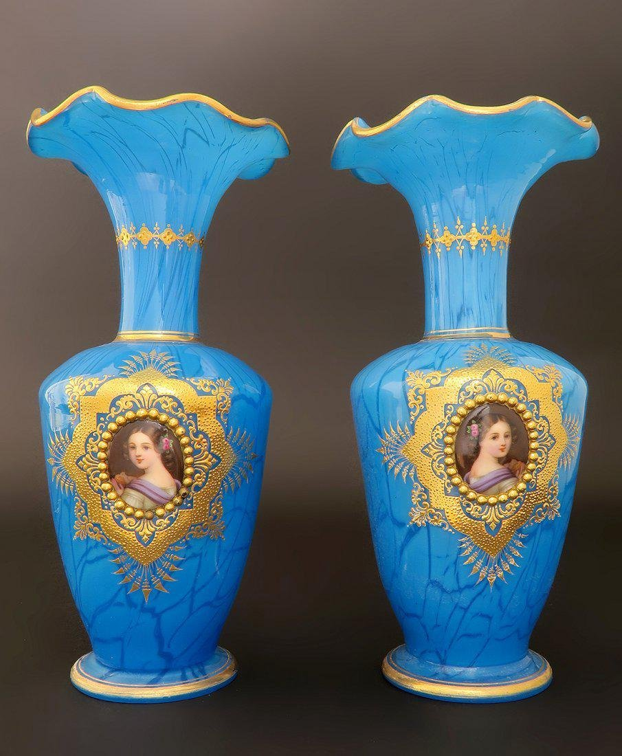 Pair of French Hand Painted Baccarat Opaline Vases