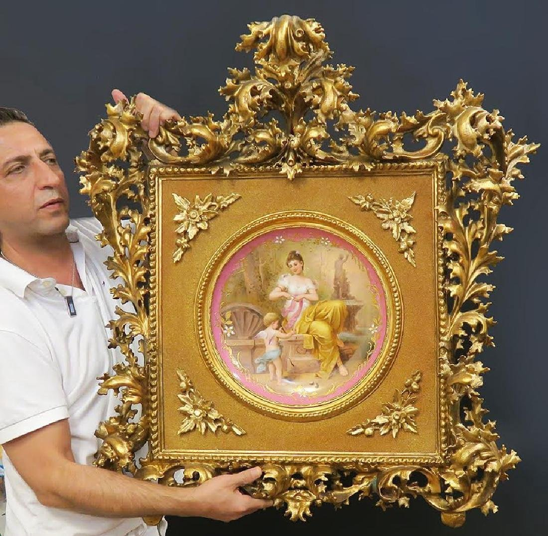 Very Large 19th C. Framed Royal Vienna Porcelain Plate