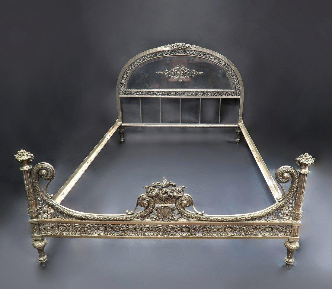 French Christofle Style Silver on Bronze Bed
