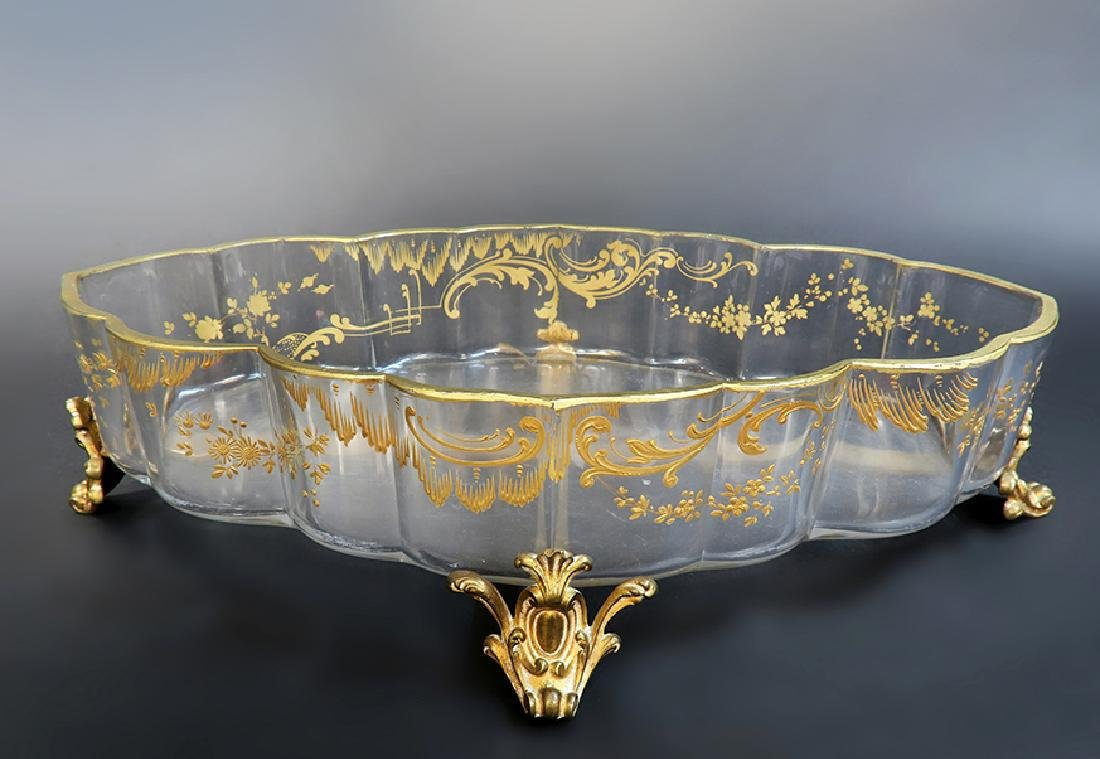 Large French Bronze & Baccarat Crystal Centerpiece