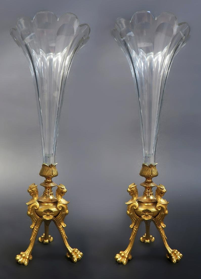 French Pair of Bronze & Baccarat Crystal Vases