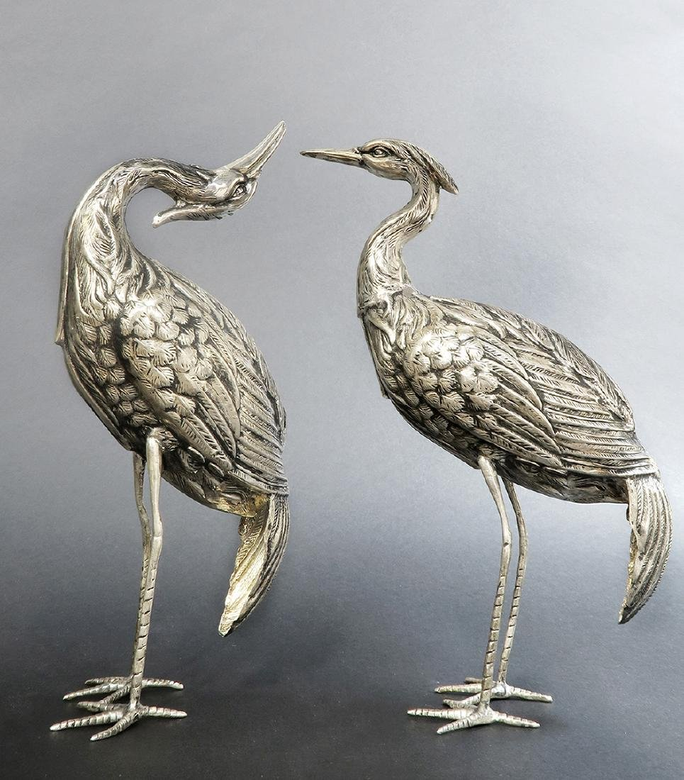 Pair of Signed Persian Sterling Silver Crane Birds