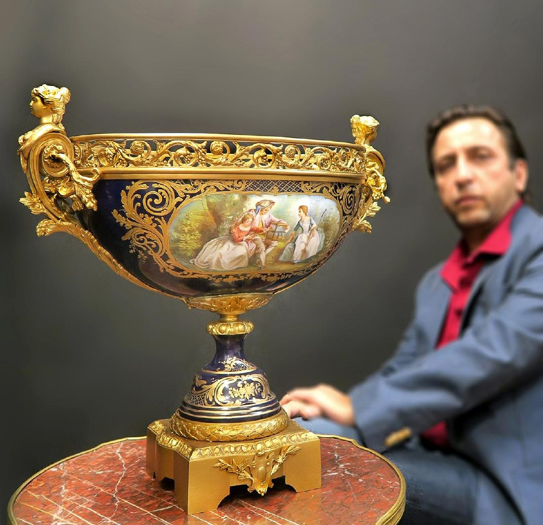 Large French Bronze & Sevres Centerpiece, 19th C.