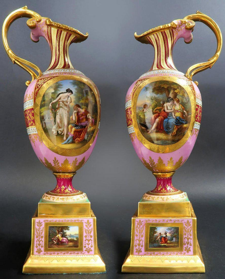 Pair of 19th Century Royal Vienna porcelain Ewers
