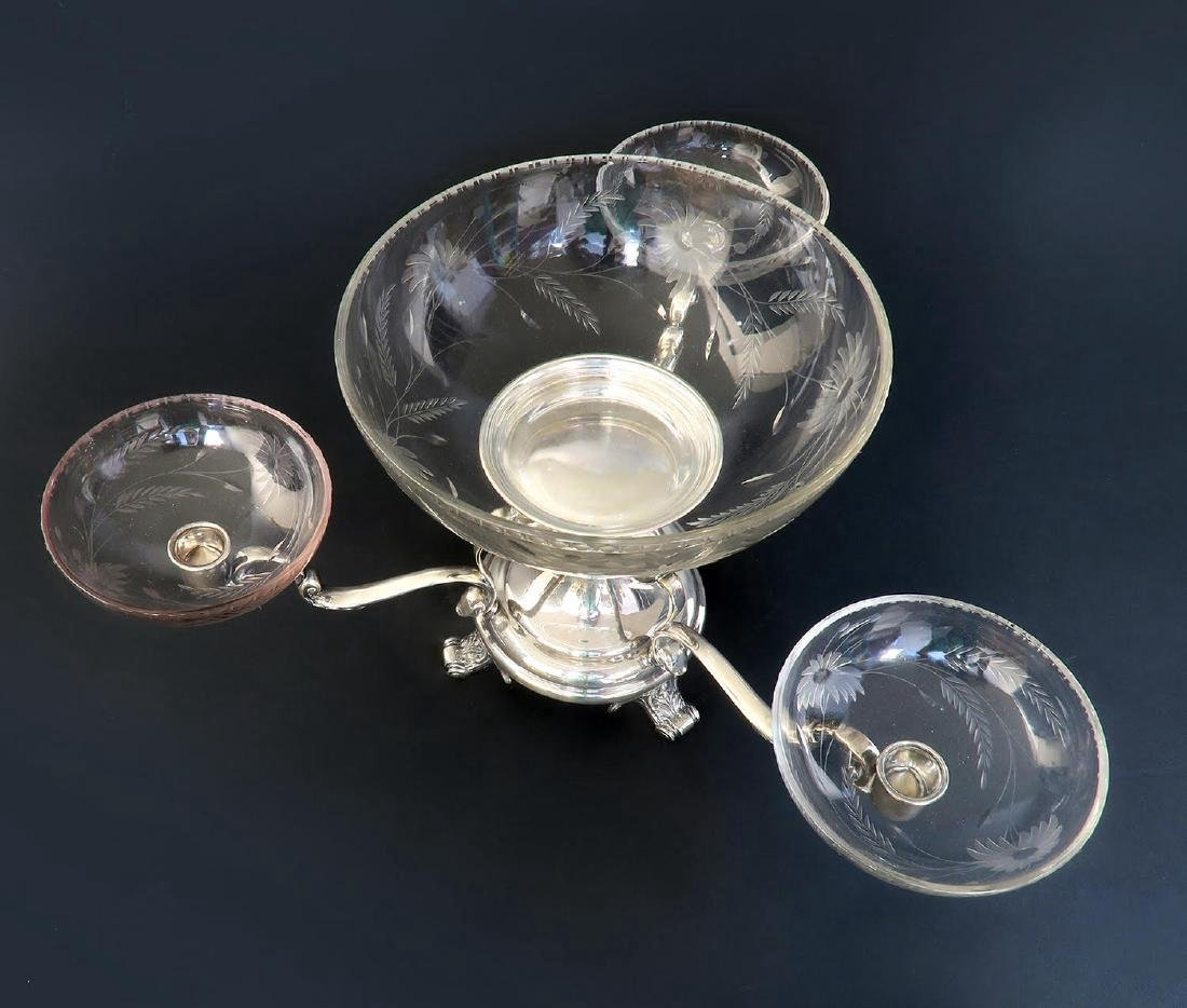English Silver-Plated & Crystal Epergne/Centerpiece