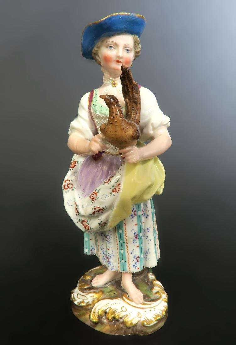 Meissen Figurine Lady With Rooster