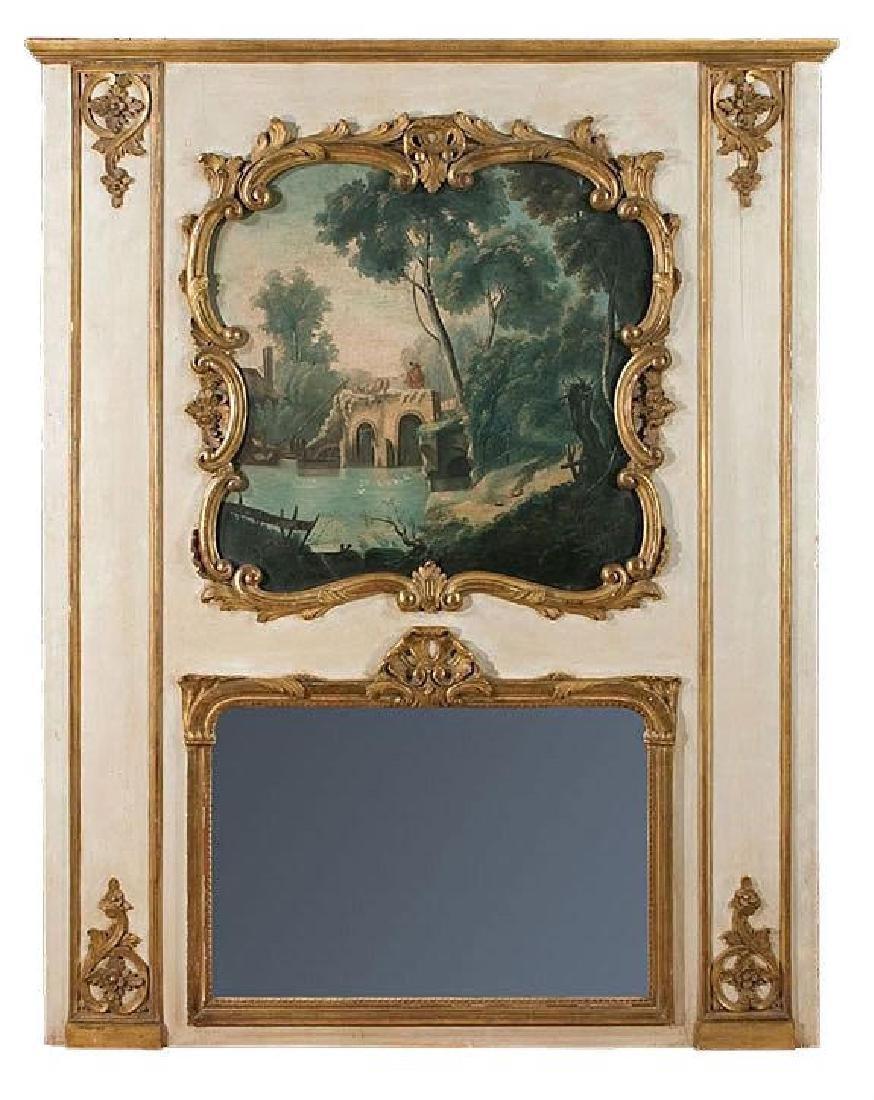 19th C. French Louis XVI Trumeau Mirror