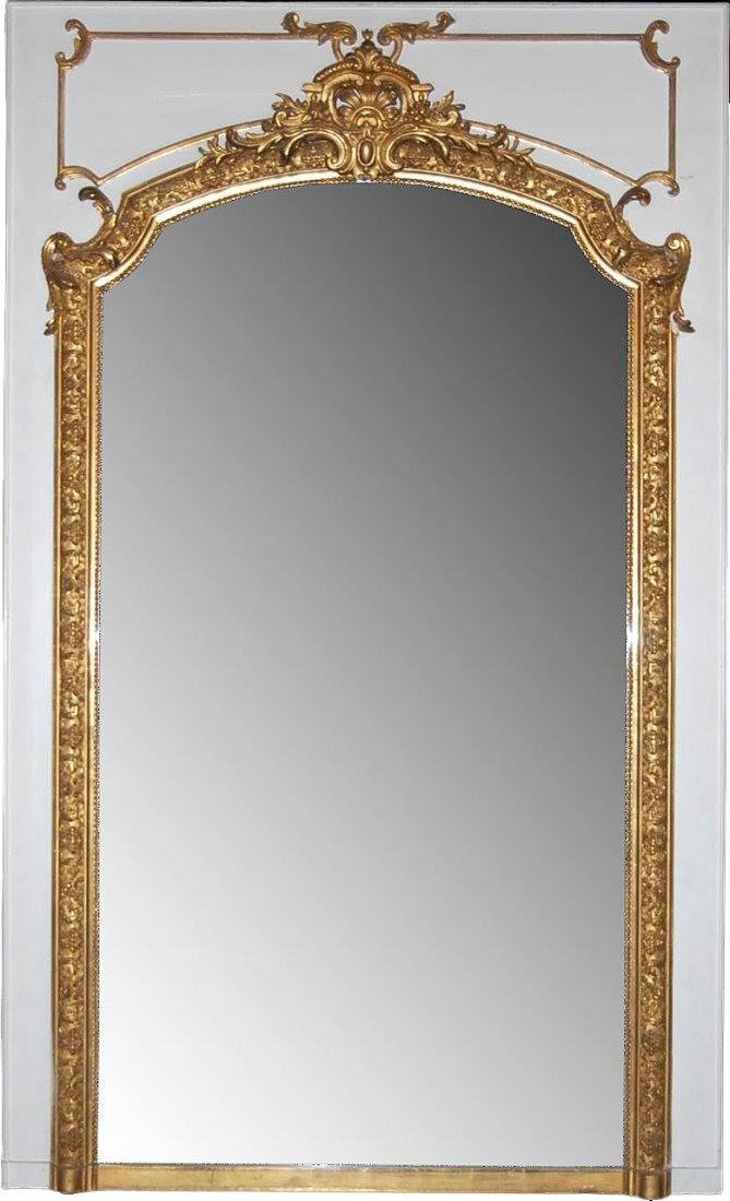 19th C. French Gilt & Gesso Carved framed Mirror