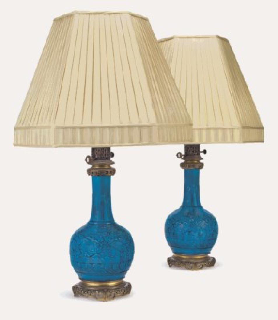 """A PAIR OF ORMOLU-MOUNTED """"PERSIAN-BLUE"""" VASES/LAMPS"""