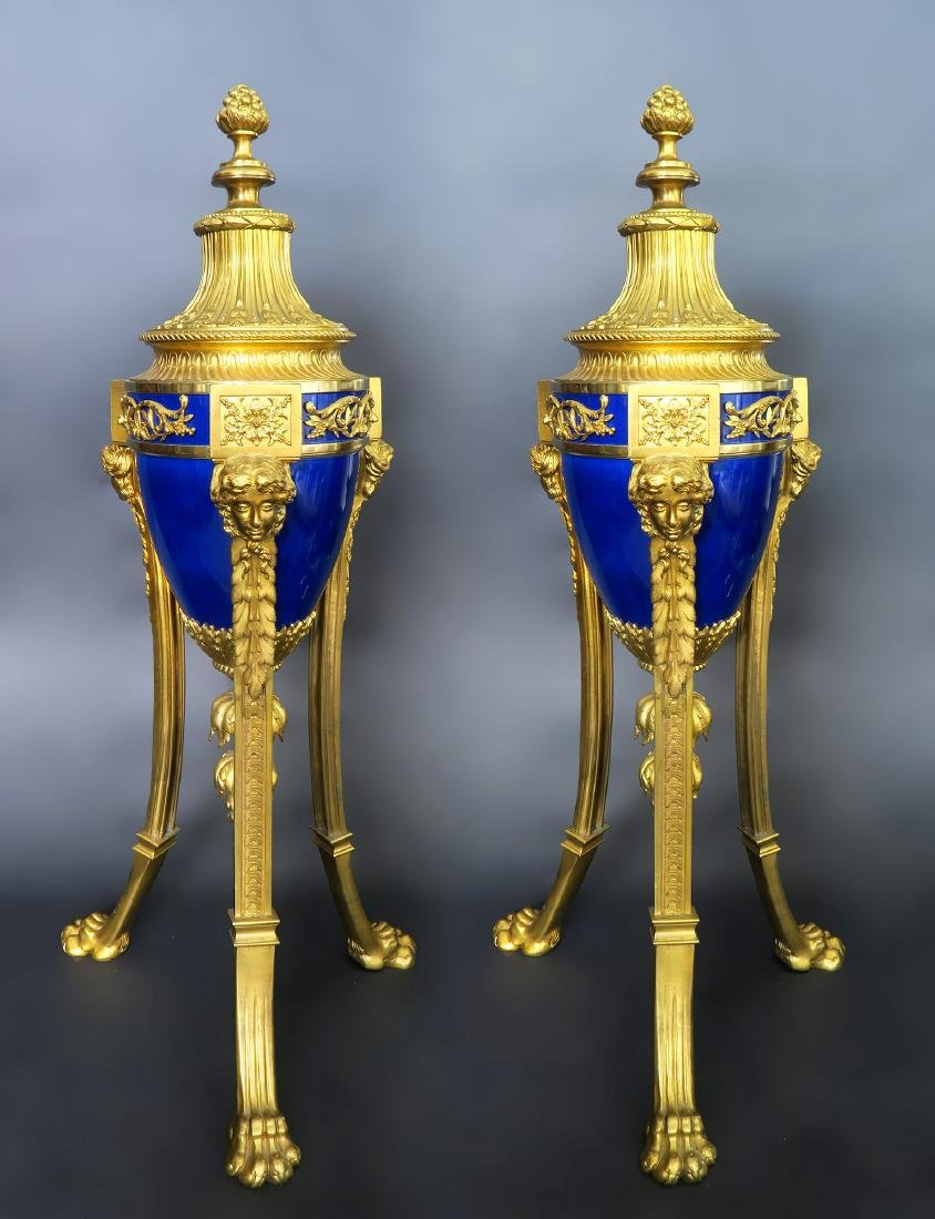 Louis XVI Style Gilt Bronze Mounted Blue Ceramic Urns