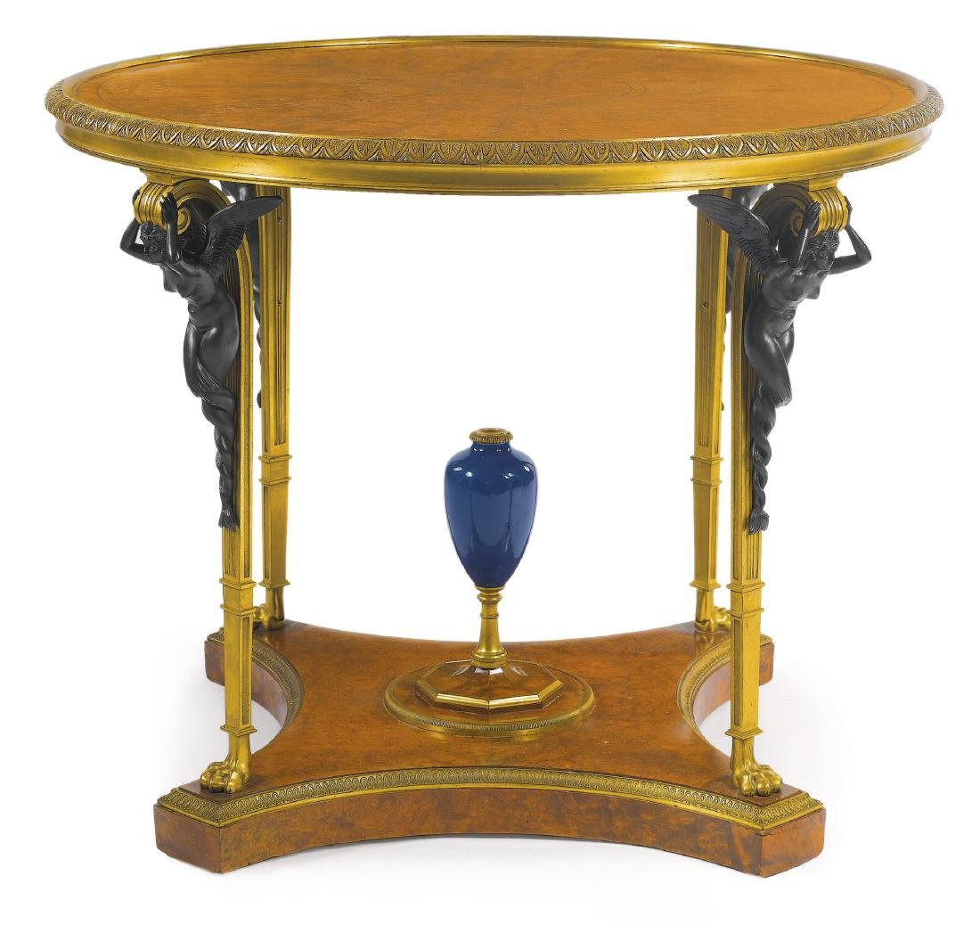 Rare Louis XVI Style Gilt Bronze Mounted Center Table