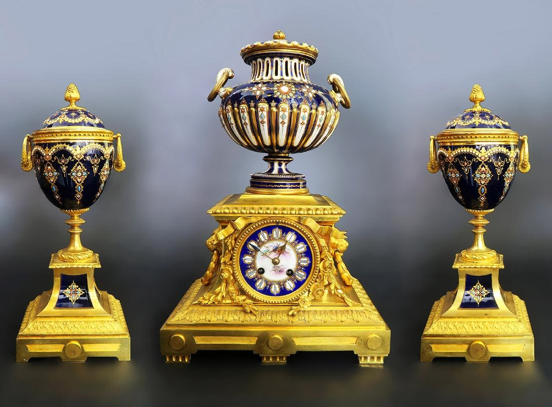 Barbedienne Gilt Bronze & Sevres Porcelain Clock Set