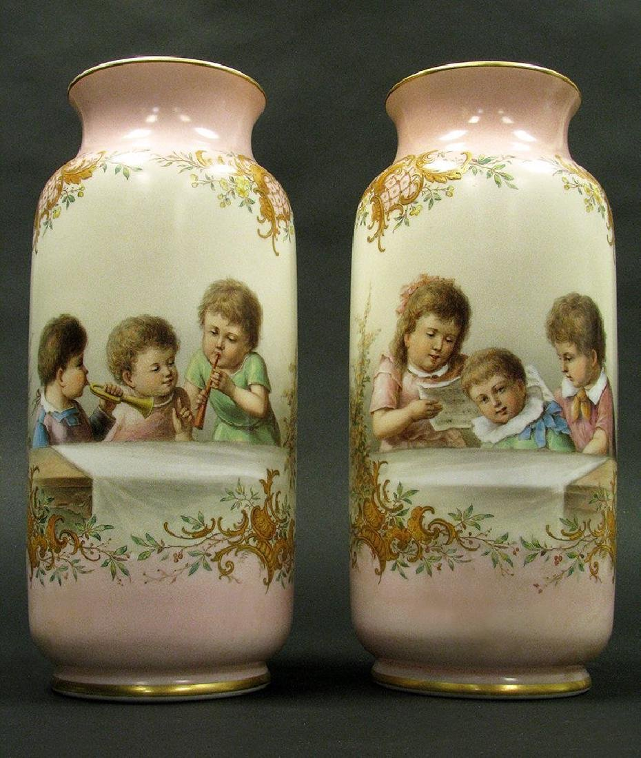 Pair of 19th C. Baccarat Opaline Hand Painted Vases