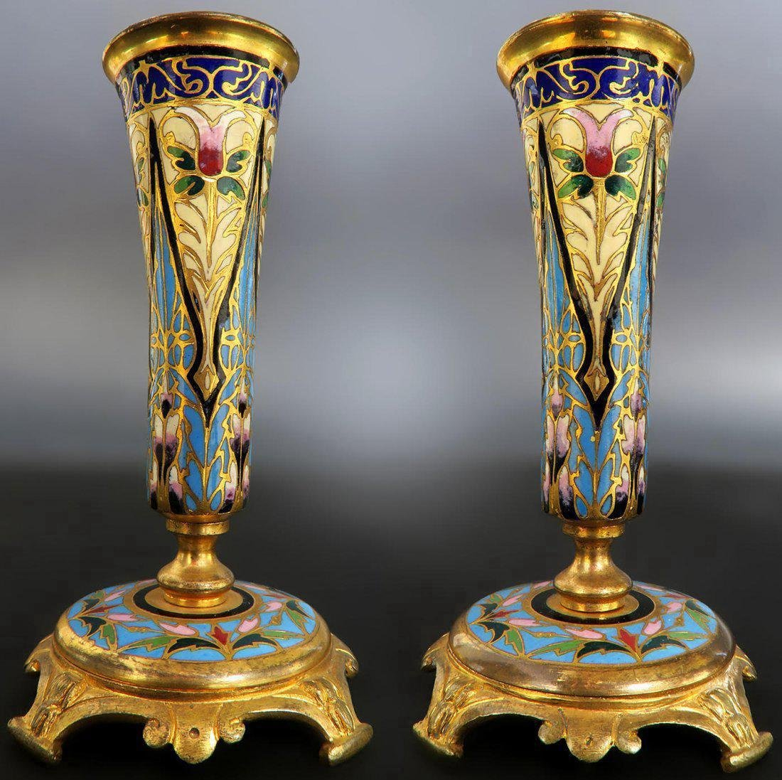 19th C. Pair of French Bronze & Champleve Vases