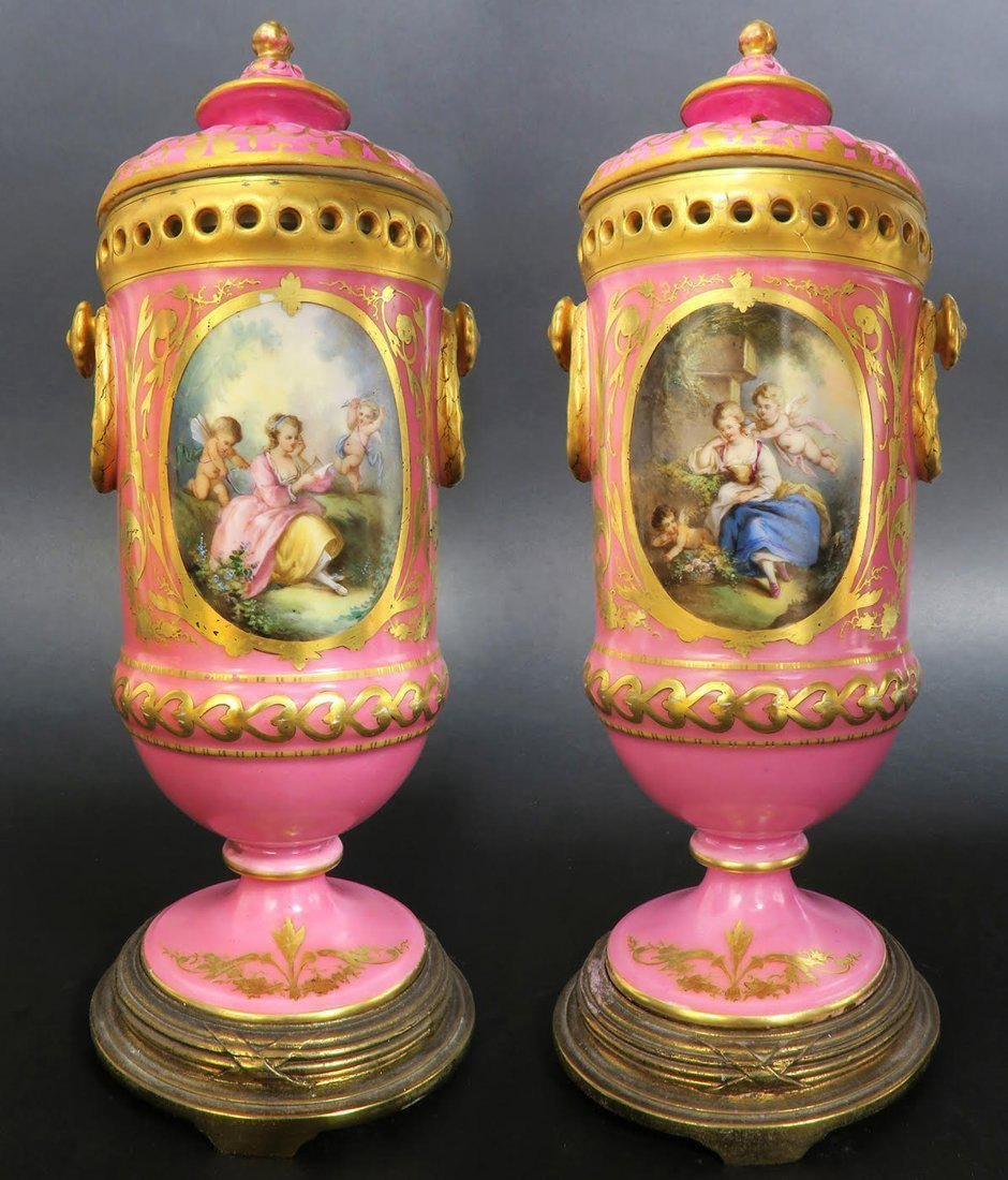 19th C. Pair of French Hand Painted Urns