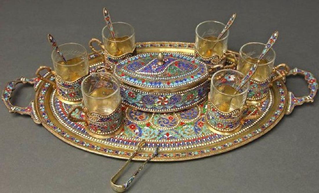 19th C. Russian/Persian Silver Enameled Tea Set