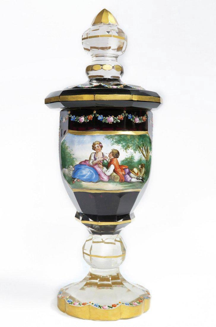 Bohemian Hand Painted Ruby Glass Vase