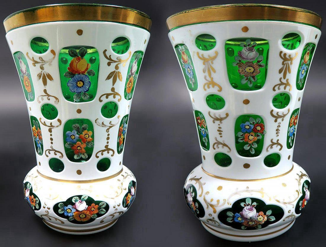 Pair of Bohemian White Cut to Green Vases Enameled