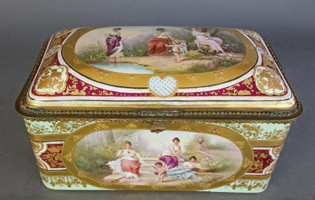 Huge 19th C. Hand Painted Royal Vienna Jewelry Box