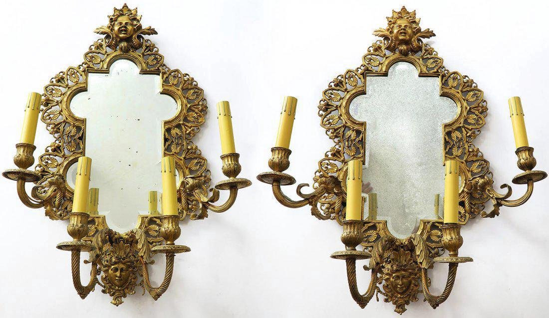 Pair Of 19th C French Gilt Bronze Mirror Sconces