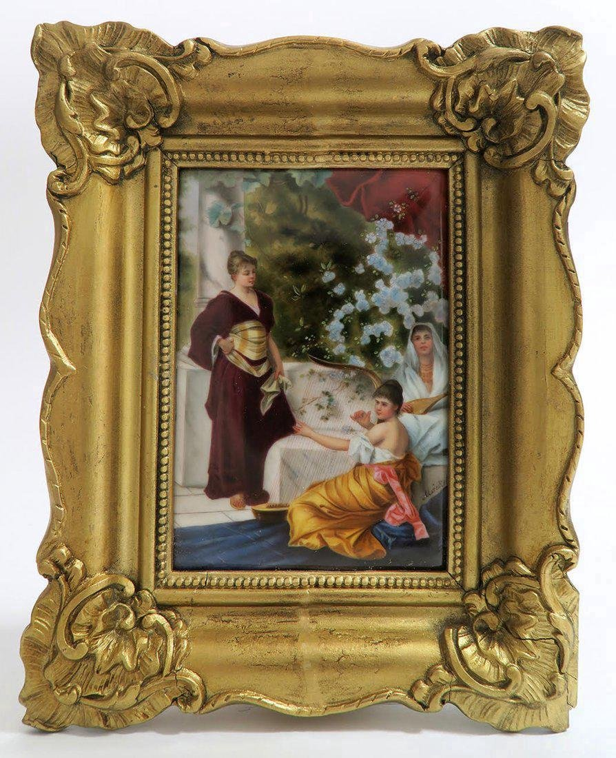 Handpainted KPM Style Porcelain Plaque in Gold Tone Frm
