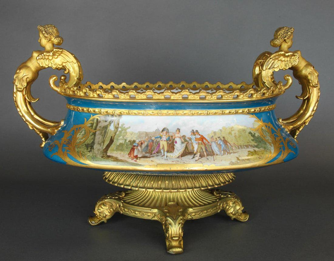 Monumental French Hand Painted Sevres Centerpiece