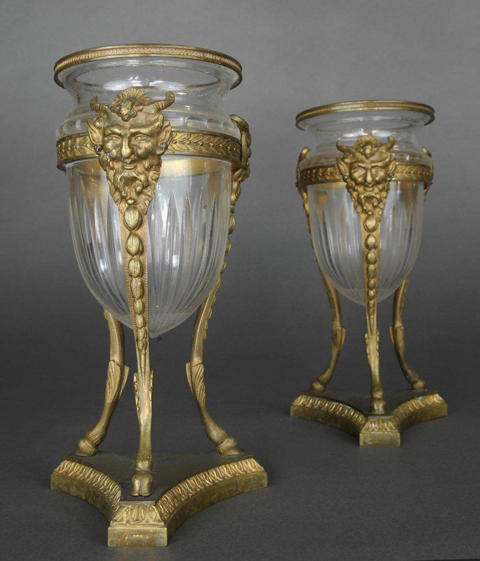 French Pair of Bronze & Baccarat Glass Vases - 2