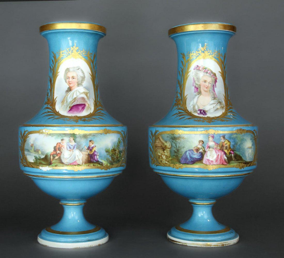 Pair of French Hand Painted Sevres Vases