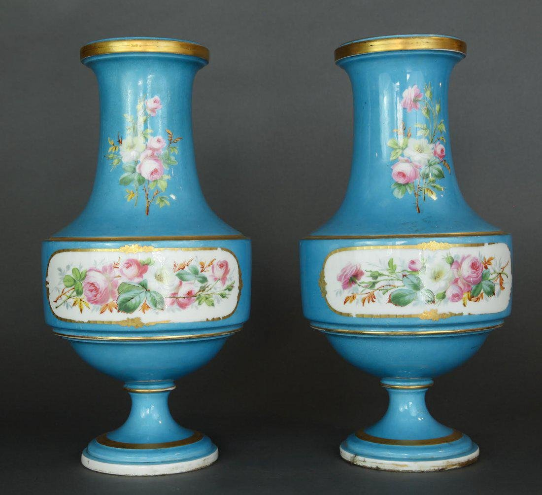 Pair of French Hand Painted Sevres Vases - 2