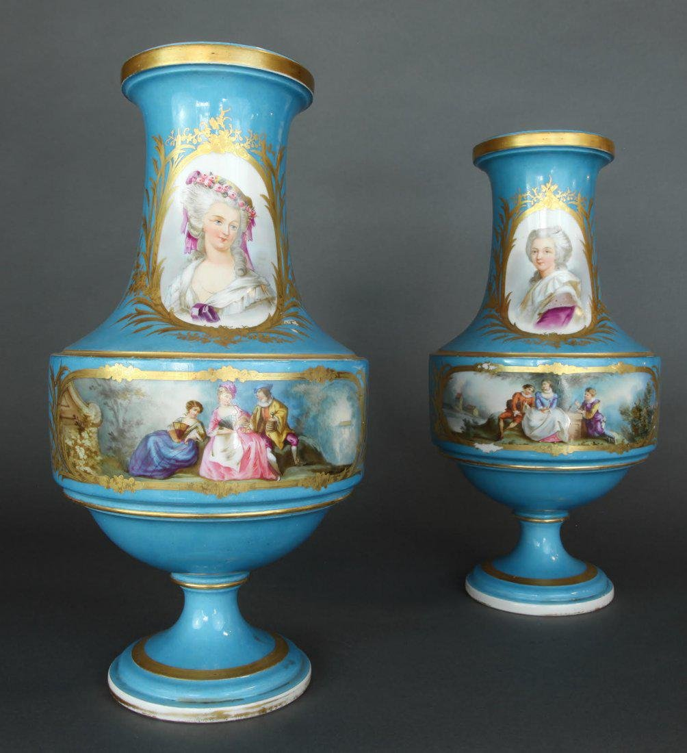 Pair of French Hand Painted Sevres Vases - 3