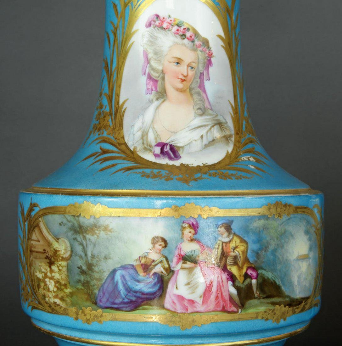 Pair of French Hand Painted Sevres Vases - 4