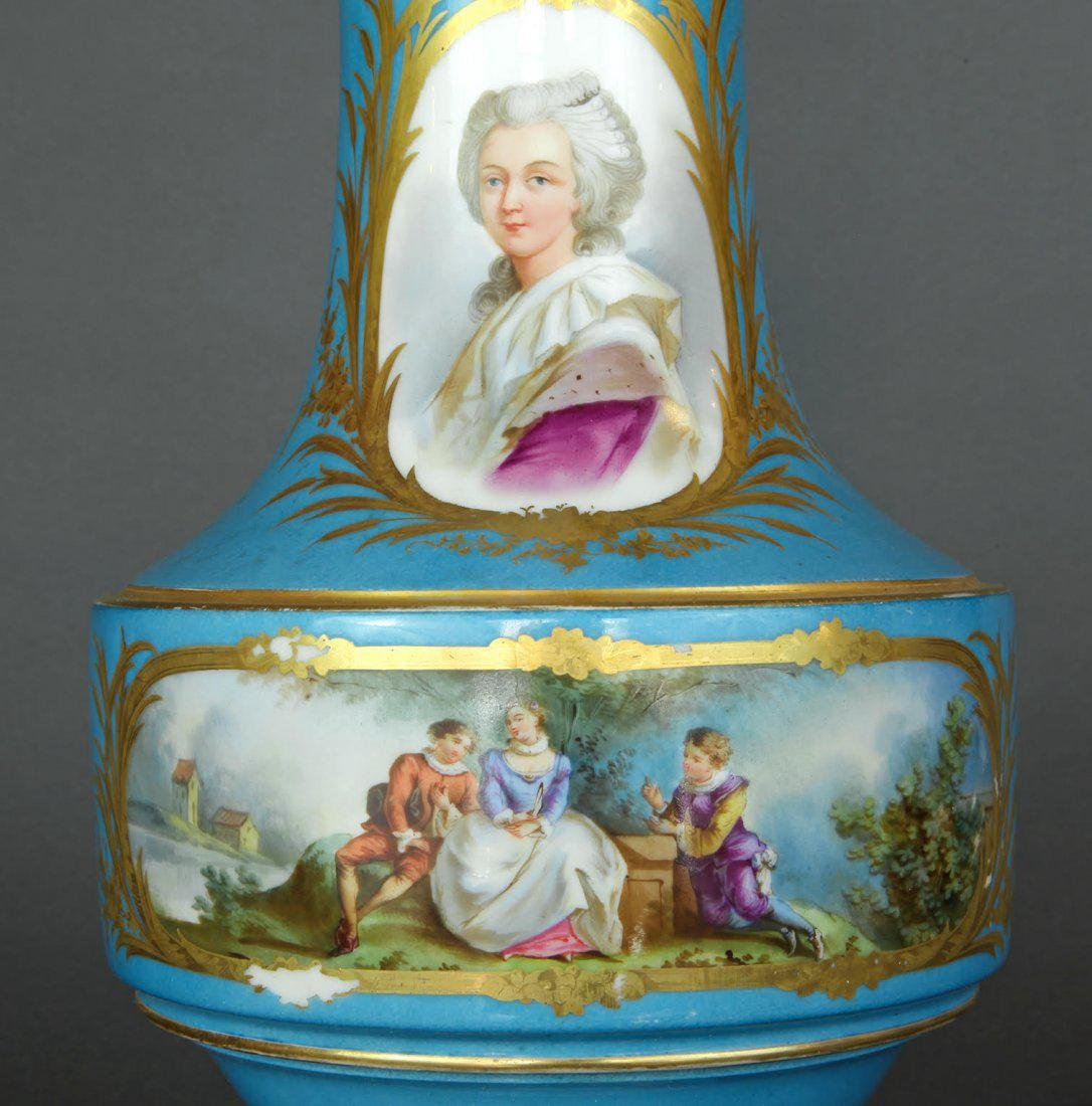 Pair of French Hand Painted Sevres Vases - 5