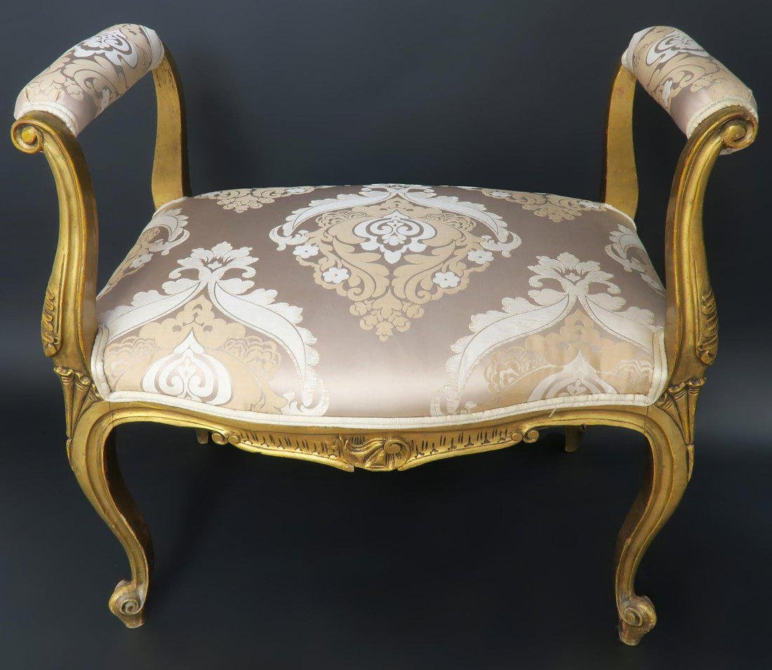 French Louis XVI style Patinated Upholstered Bench