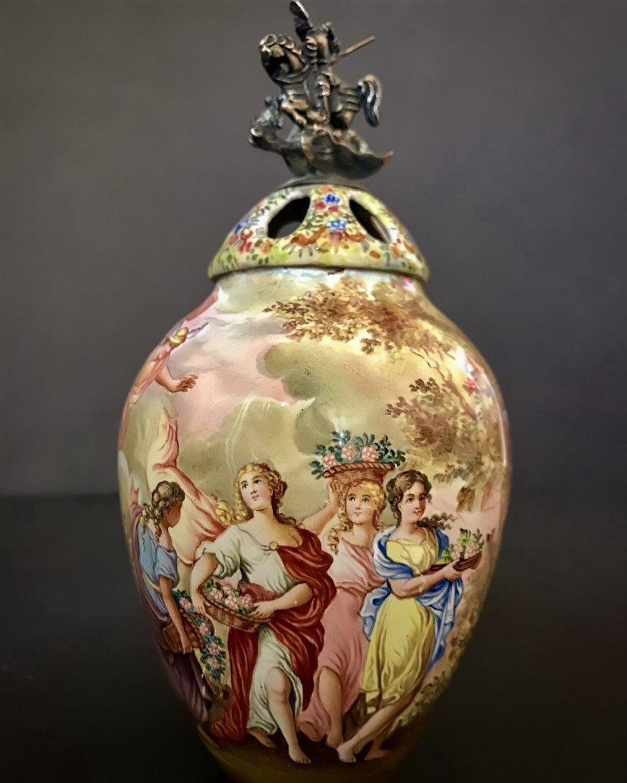 19th C. Antique Viennese Enamel Jar